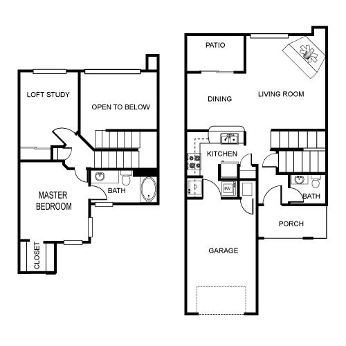1,117 sq. ft. A2 floor plan
