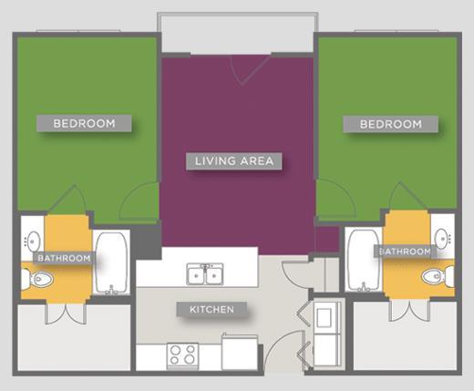 803 sq. ft. B1B floor plan