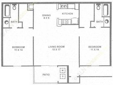 1,024 sq. ft. F floor plan