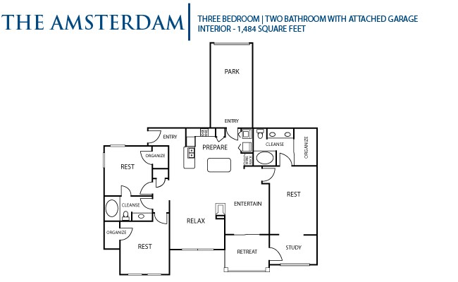1,484 sq. ft. Amsterdam floor plan