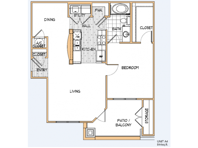 844 sq. ft. A4 floor plan