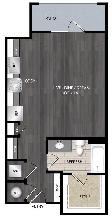 586 sq. ft. E1 floor plan