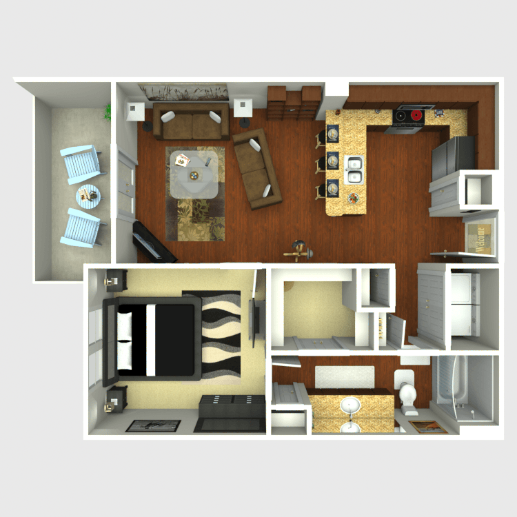 704 sq. ft. A3 floor plan