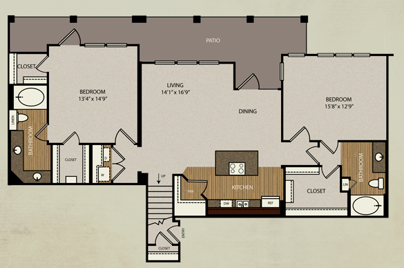 1,397 sq. ft. B5 floor plan