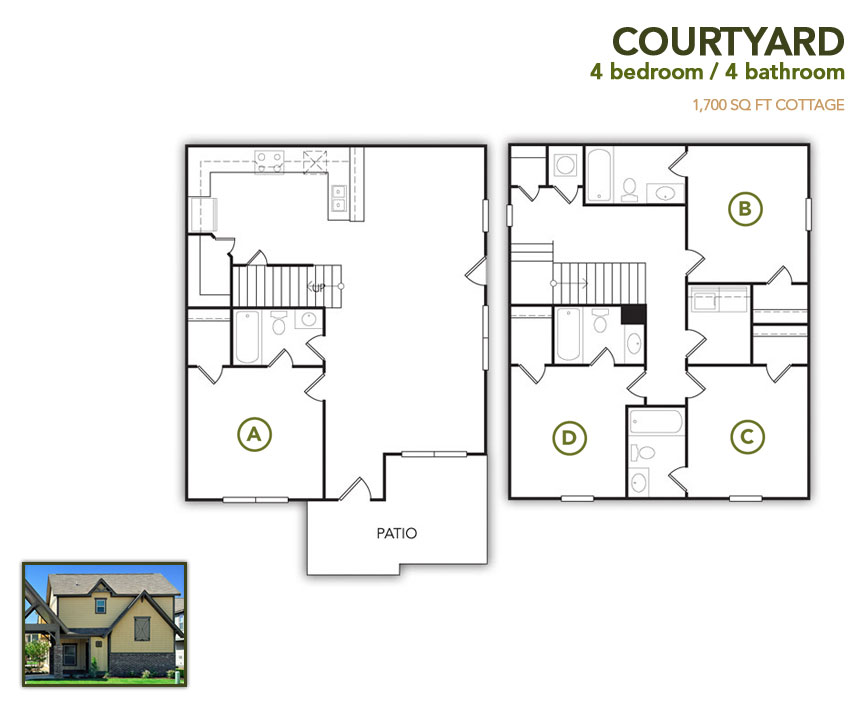 1,700 sq. ft. Courtyard floor plan