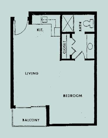 500 sq. ft. Alcove floor plan