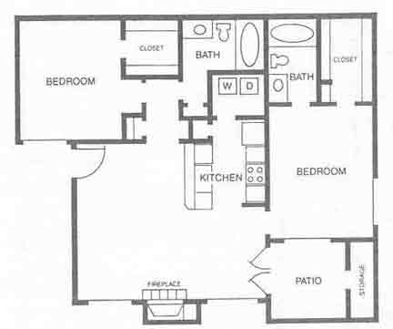 937 sq. ft. B1 floor plan
