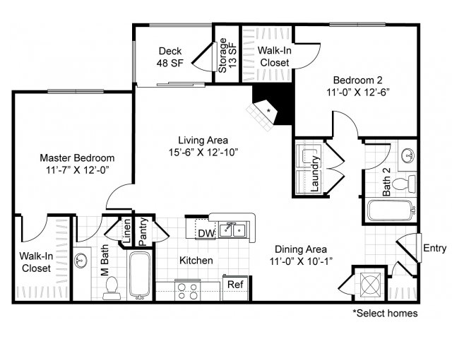 1,057 sq. ft. B1-Cadenza floor plan