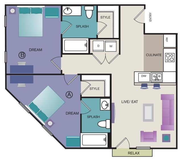 837 sq. ft. B2 floor plan