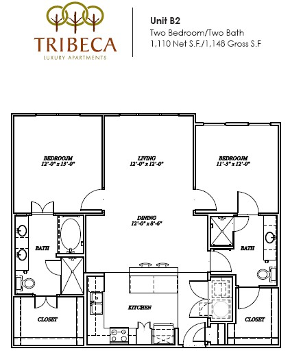 1,110 sq. ft. Barclay floor plan