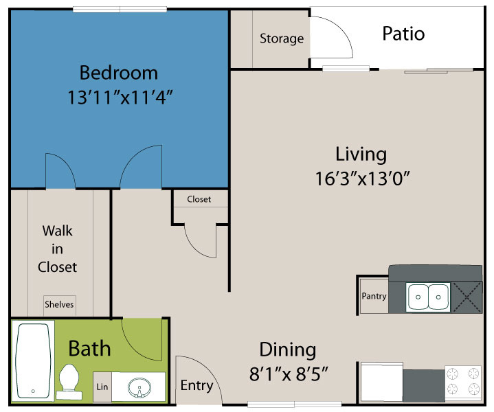 758 sq. ft. A3 Lake floor plan