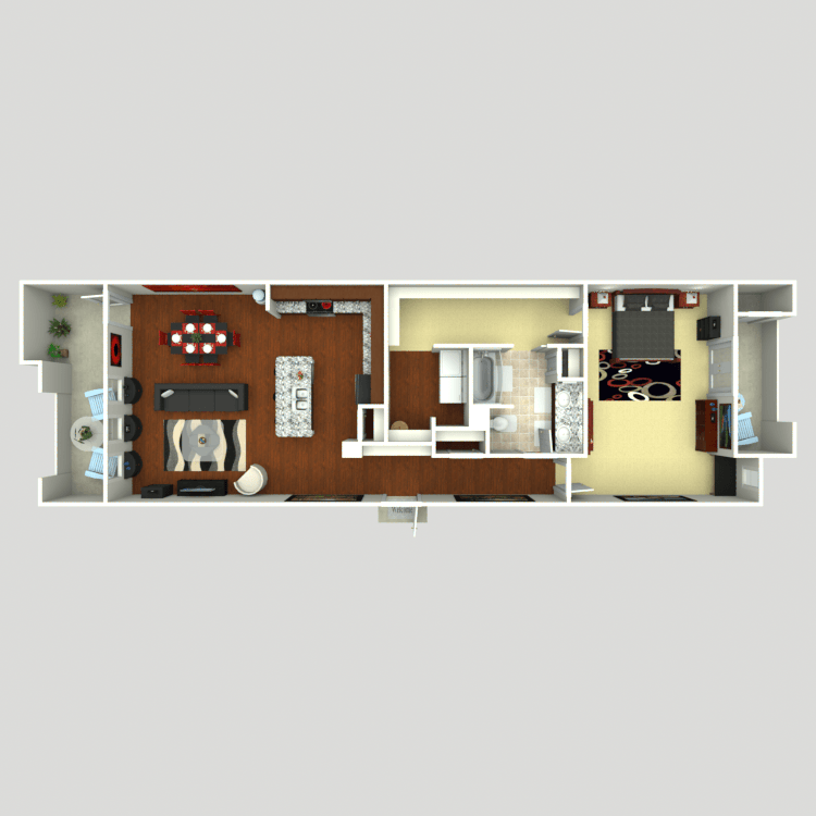 1,167 sq. ft. A6 floor plan