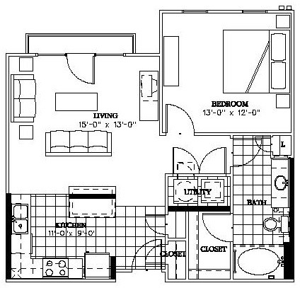 720 sq. ft. Mockingbird floor plan