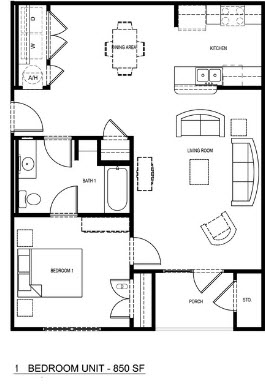 850 sq. ft. 50% floor plan