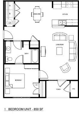 850 sq. ft. 50% floor plan