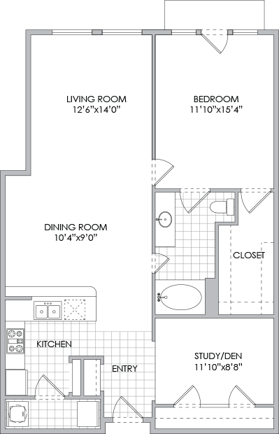1,068 sq. ft. A9/A10 floor plan