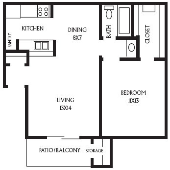 626 sq. ft. A5 floor plan