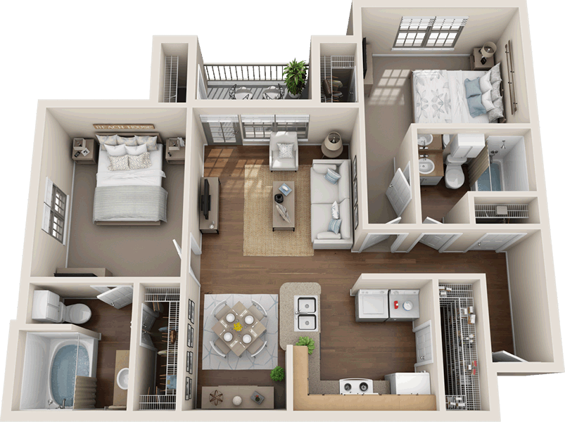 960 sq. ft. B1-60% floor plan