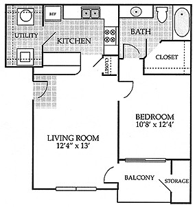 659 sq. ft. CARRINGTON floor plan