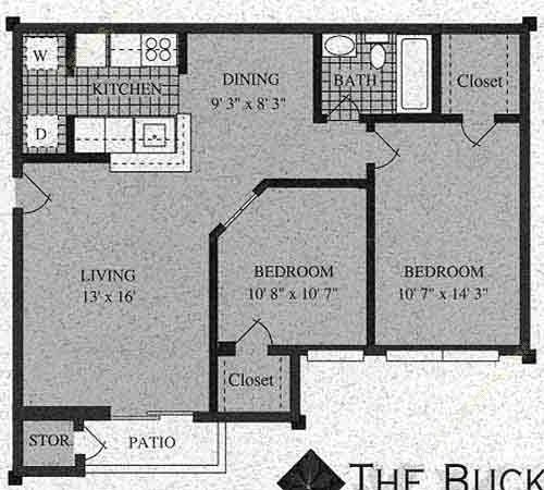 764 sq. ft. F-60% floor plan