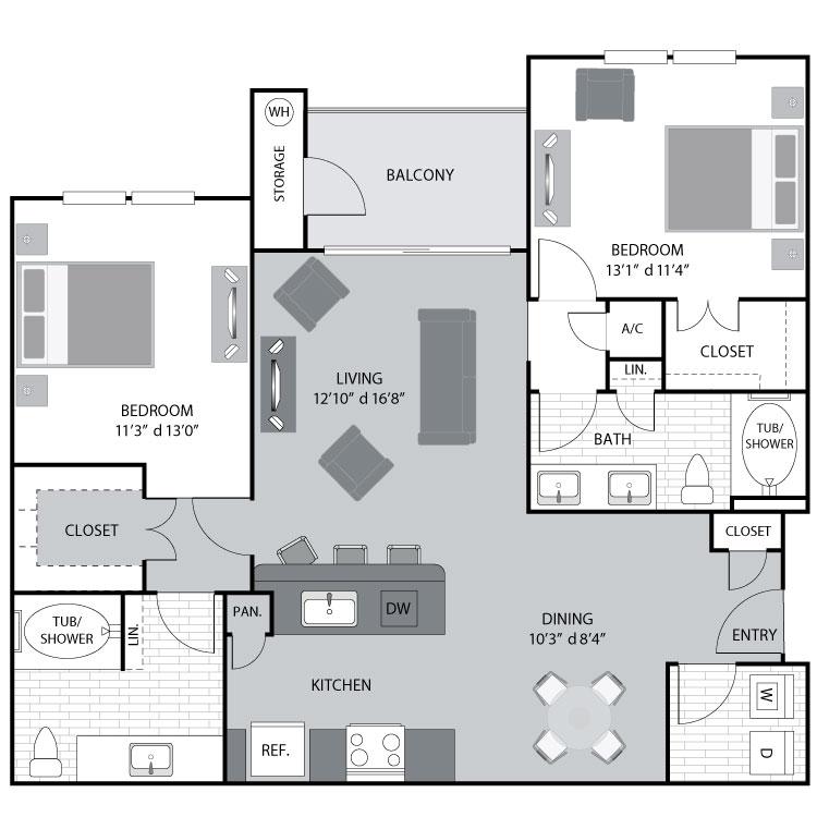 1,181 sq. ft. B3 floor plan