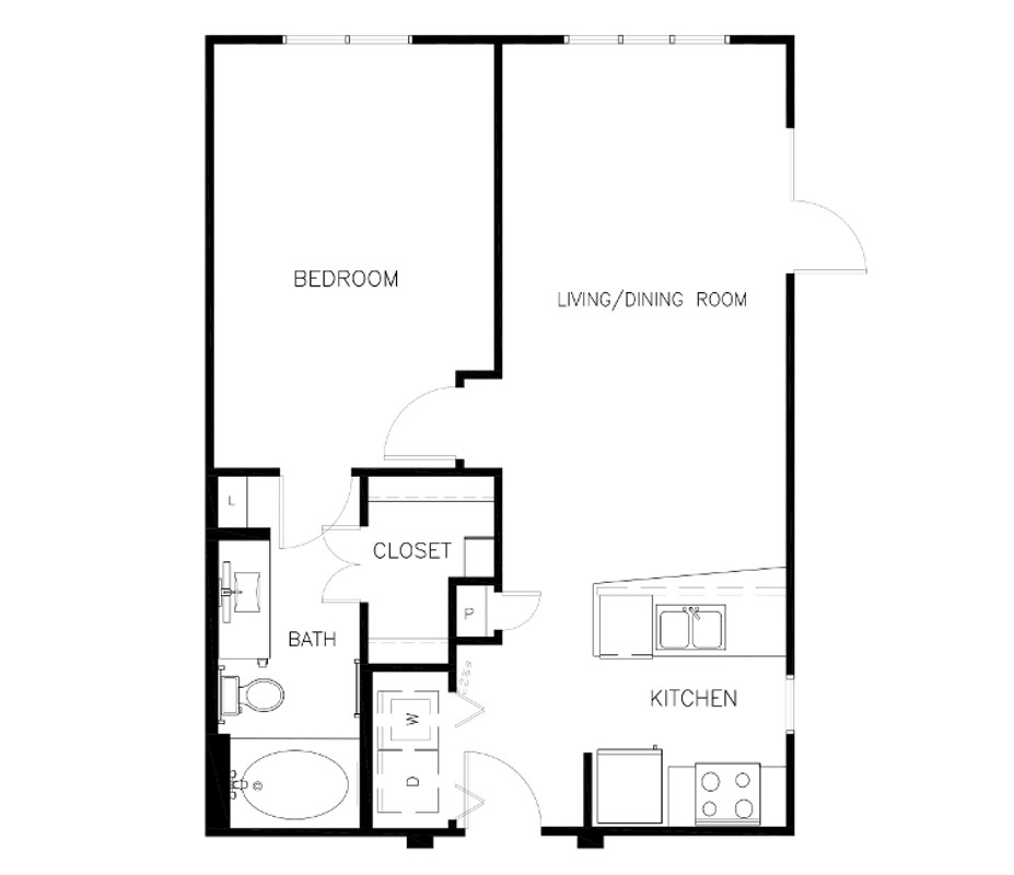 673 sq. ft. to 719 sq. ft. A0 floor plan