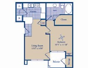 622 sq. ft. Bridgeport floor plan