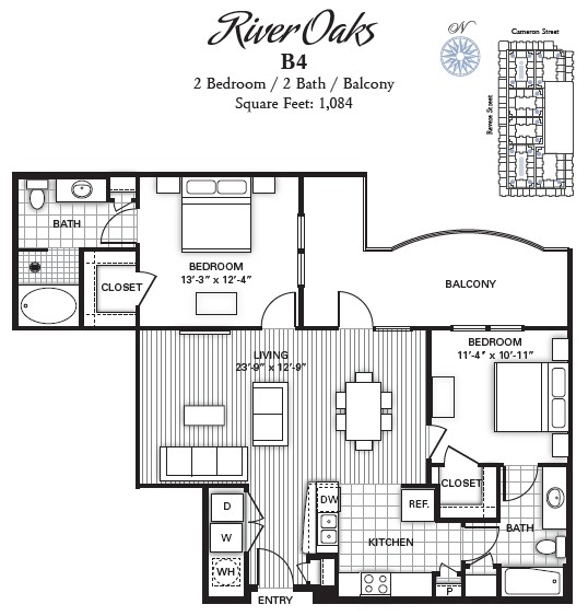 1,084 sq. ft. RIVER OAKS floor plan