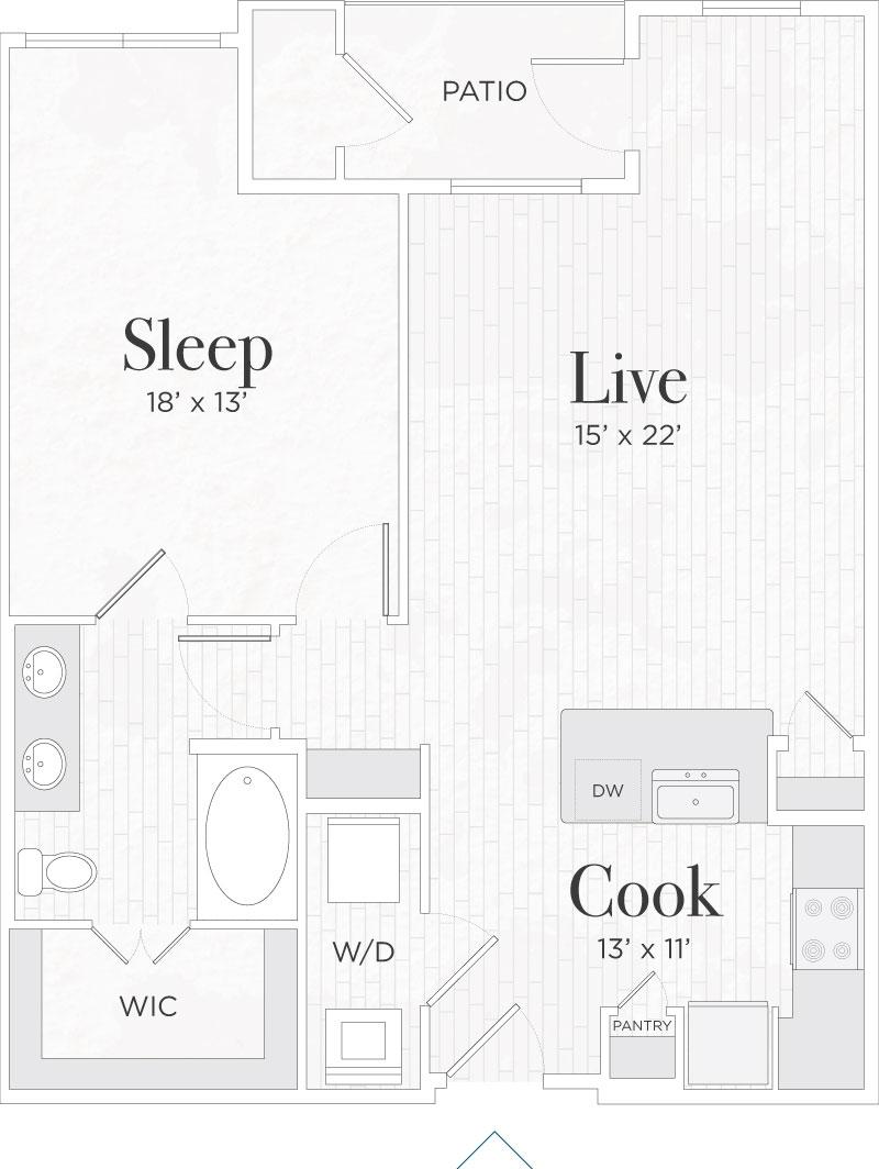 850 sq. ft. Lorenzo IV floor plan
