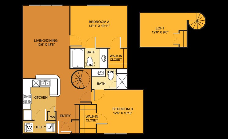 1,138 sq. ft. B4LOFT floor plan