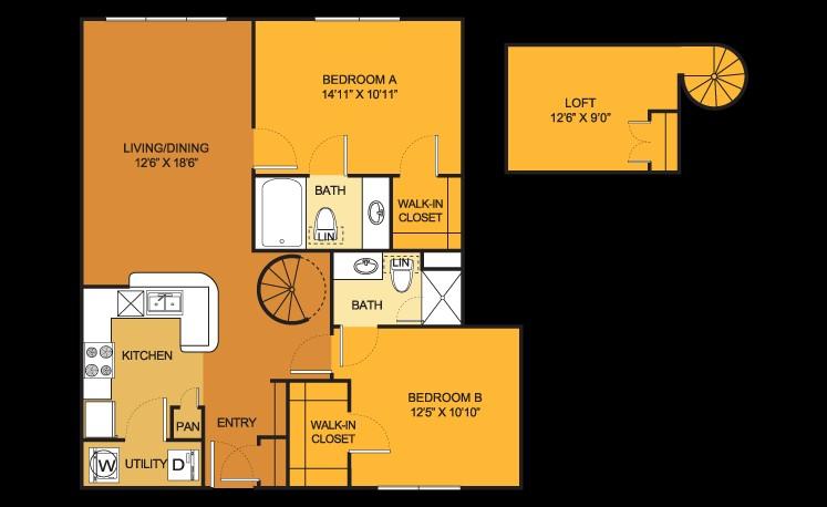 1,138 sq. ft. B4 Loft floor plan