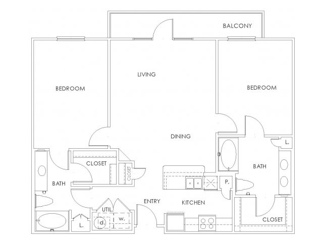 1,064 sq. ft. to 1,171 sq. ft. B1 floor plan