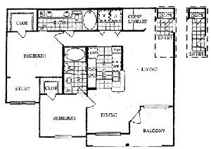 1,340 sq. ft. M floor plan