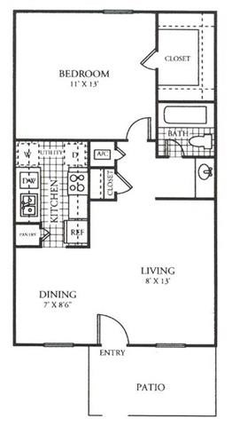 613 sq. ft. H floor plan
