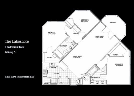 1,410 sq. ft. Lakeshore floor plan