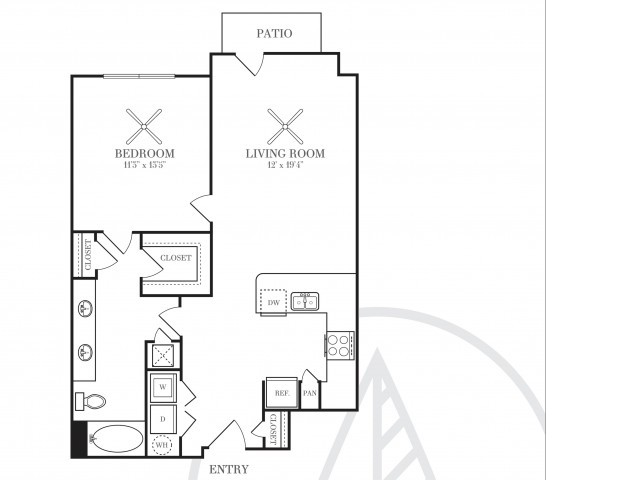 812 sq. ft. A4 floor plan