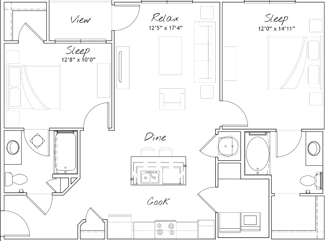 1,060 sq. ft. B1 floor plan