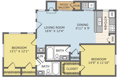 1,000 sq. ft. Majestic floor plan