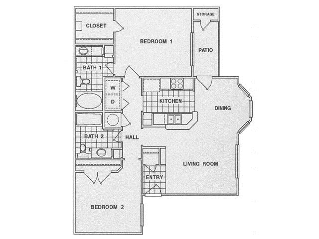 1,051 sq. ft. D floor plan