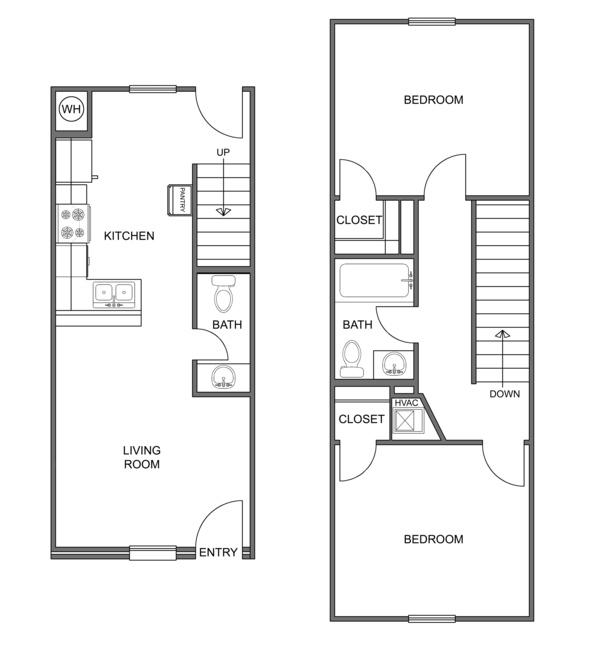 864 sq. ft. Boulder floor plan