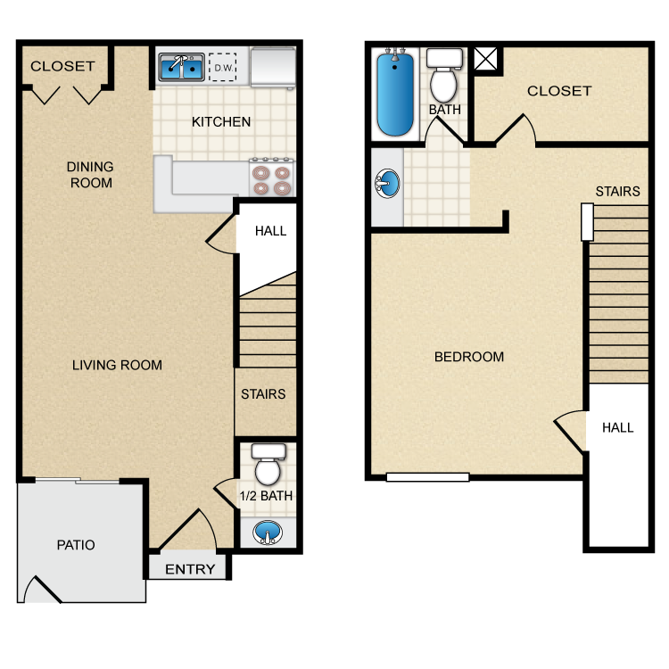 850 sq. ft. C floor plan