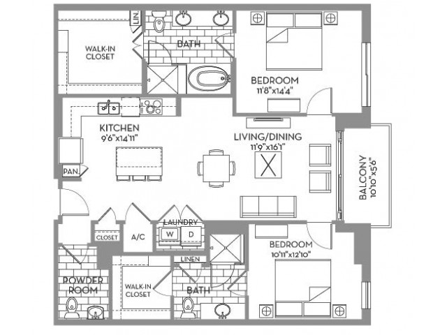1,267 sq. ft. Douglas(A.13) floor plan