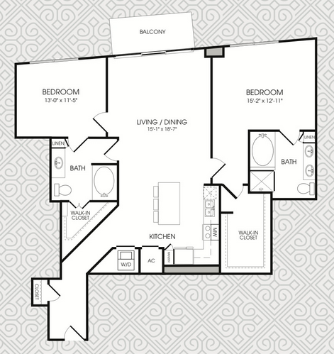 1,417 sq. ft. B12 floor plan