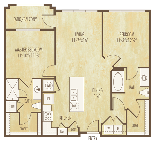 1,065 sq. ft. to 1,072 sq. ft. B1C floor plan