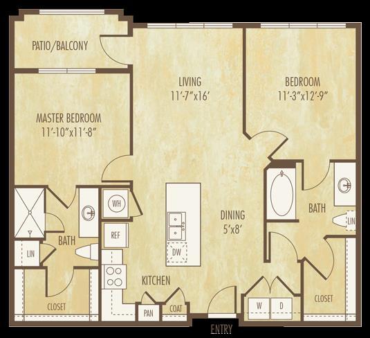 1,065 sq. ft. to 1,072 sq. ft. floor plan