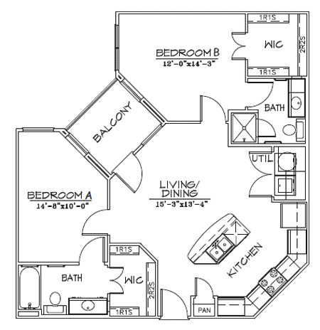 930 sq. ft. B2-8 floor plan