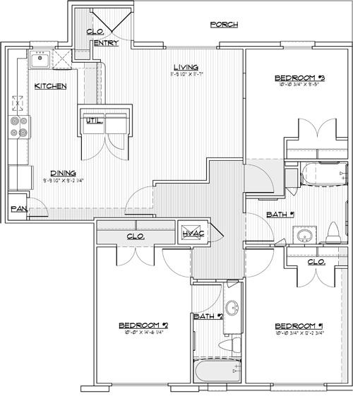 1,194 sq. ft. 60% floor plan