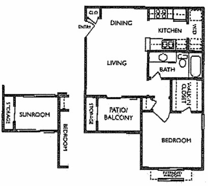 693 sq. ft. A1S floor plan
