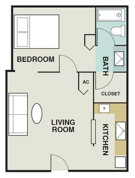 483 sq. ft. A1 floor plan