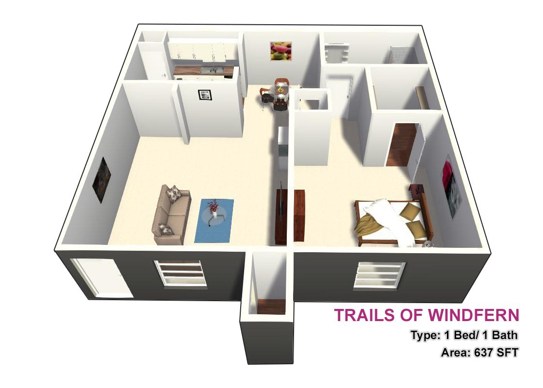 637 sq. ft. 1X1 floor plan